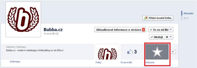 Statická záložka na Facebooku
