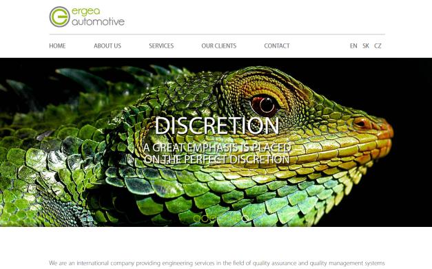 Web Ergea.com včetně jazykových mutací
