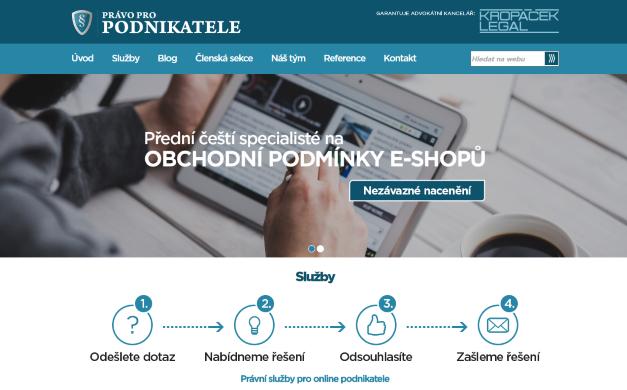 Webdesign Právopropodnikatele.cz včetně členské sekce